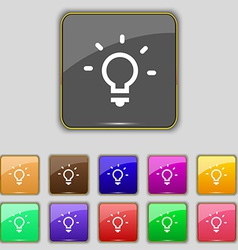 Light lamp idea icon sign set with eleven colored vector