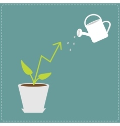 Diagram arrow plant in the pot and watering can vector