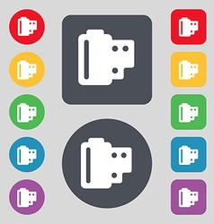 35 mm negative films icon sign A set of 12 colored vector image