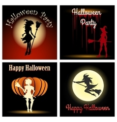 Halloween witch party set vector