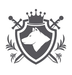 Shield with wolf design element vector
