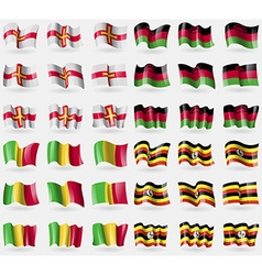 Guernsey malawi mali uganda set of 36 flags of the vector