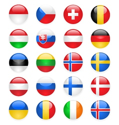 Europe flags buttons part two vector