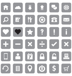Gray web icon set flat style on round rectangle vector