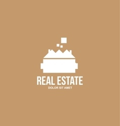 Flat real estate brown house villa logo vector