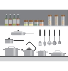 Kitchen equipment isolated elements flat vector