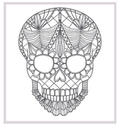 Abstract skull lace ornament vector