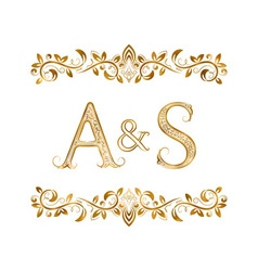 As vintage initials logo symbol letters a s vector