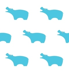 Blue hippo seamless pattern simple vector