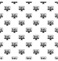 Business graph at computer screen pattern vector
