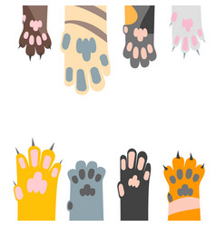 Cartoon different cat paw card background vector