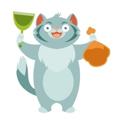 Cat and his toilet equipment vector