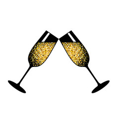 Champagne white glasses vector