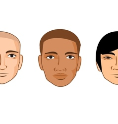 Collection of cartoon man faces of different races vector image vector image