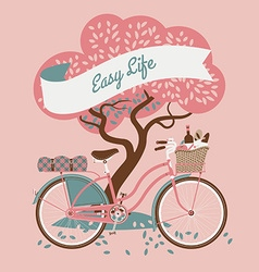Cute web banner with a bike and tree vector