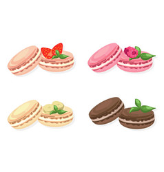 Delicious macaroons set for menu vector