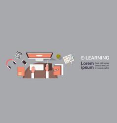 Elearning online education banner with student vector