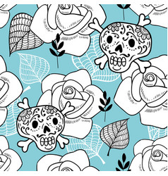 Endless background with sugar skulls and roses vector