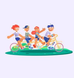 family tandem bicycle cartoon concept with parents vector image