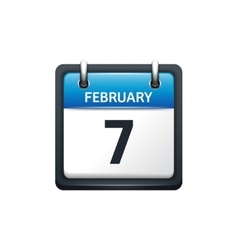 February 7 Calendar icon flat vector image vector image