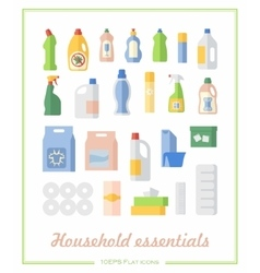 Flat icons household chemicals and paper products vector