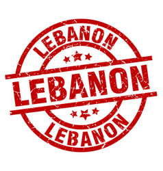 Lebanon red round grunge stamp vector