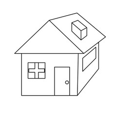 line nice house with architecture design icon vector image vector image