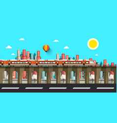modern train in city flat design town vector image vector image