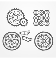 Motorcycle parts icons vector