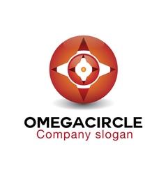 Omega circle design vector