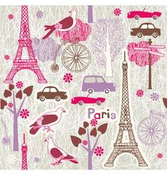 paris vintage wallpaper vector image vector image