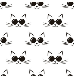 Pattern with cats with black sunglasses vector