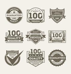 premium quality guaranteed label set vector image