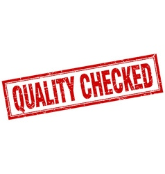 Quality checked red square grunge stamp on white vector