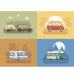 Rv travel concept landscapes in flat design vector