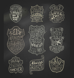 set of chalk romantic labels on blackboard vector image