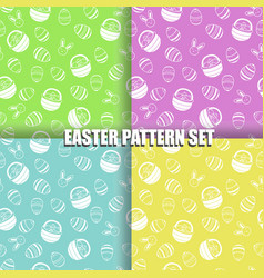 set of easter pattern with eggs basket and bunny vector image vector image