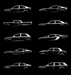 Set of white silhouette car on black background vector