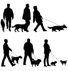 set silhouette of people and dog on a white vector image vector image