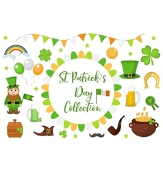 St patricks day icon set design element vector
