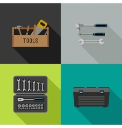 Tools flat icons vector image