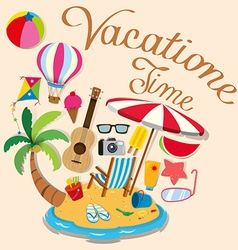 Vacation theme with island and beach objects vector image