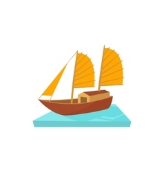 Vietnamese boat icon cartoon style vector