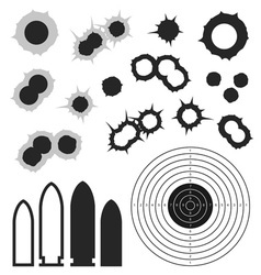 Bullet holes bullet target icon vector