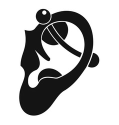 Human ear with piercing icon simple vector
