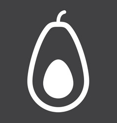 Avocado solid icon fruit and tropical vector
