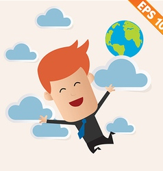 Business man fly on the sky - - eps10 vector