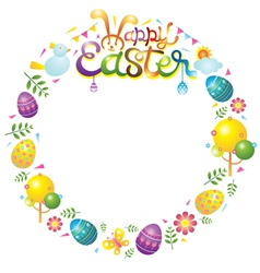 Easter icons wreath vector