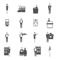 Salesman icons set vector