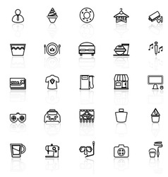 Franchisee business line icons with reflect on vector